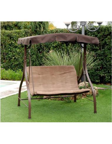 Dondolo haiti 2 posti struttura in ferro marrone cuscino for Divano a dondolo