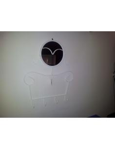 """Appendiabiti con specchio da parete  modello """"LADY"""" di Maiuguali in bianco e silver"""