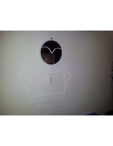 Appendiabiti A Specchio Da Parete.Appendiabiti Con Specchio Da Parete Modello Lady Di Maiuguali In Bianco E Silver