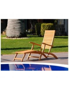 Sdraio lettino in legno relax mod.California reclinabile multi-posizione con poggiapiedi