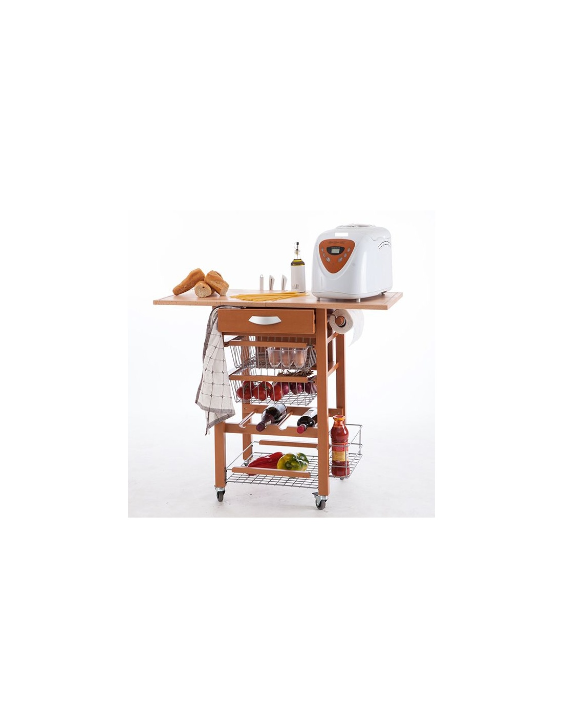 Carrello da cucina in legno modello gastone 585 di for Stendibiancheria arredamenti italia