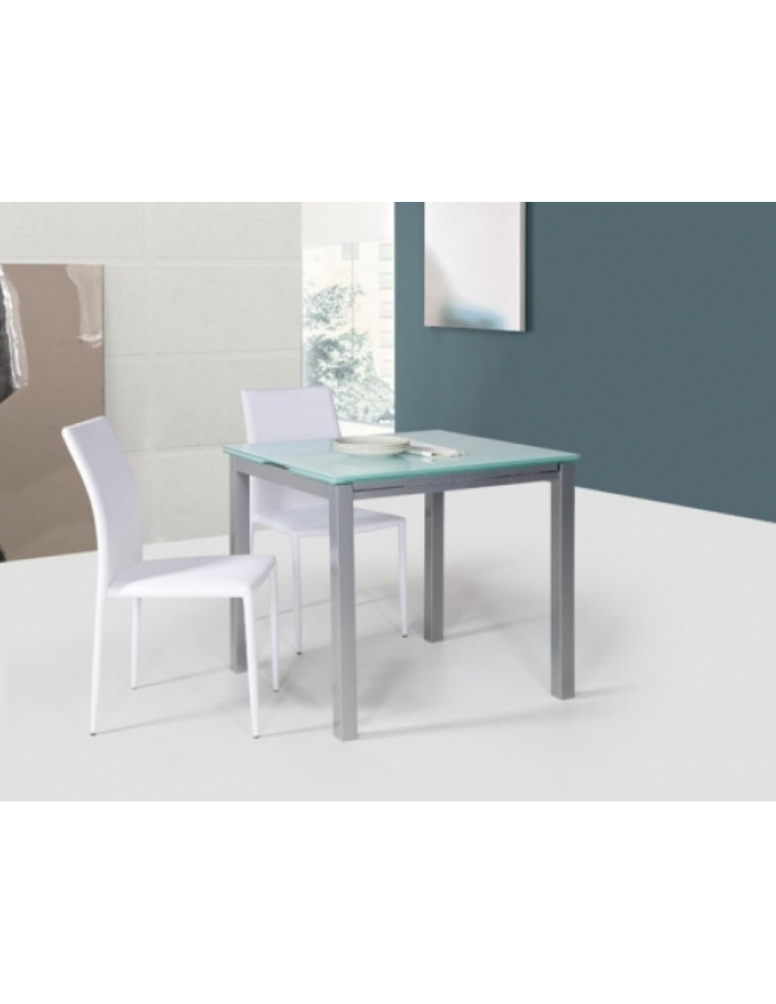 Tavolo in metallo quadrato art 2209 80x80 cm for Tavolo quadrato allungabile vetro