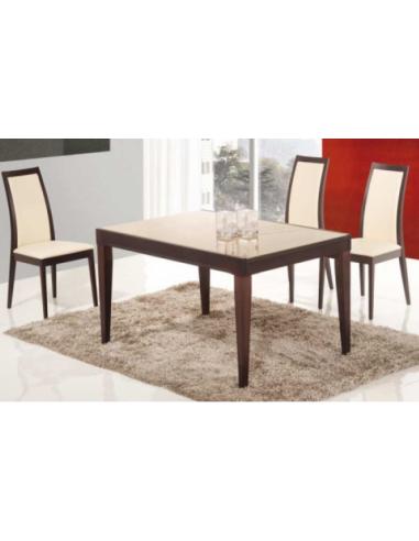 Tavolo in legno e piano in vetro art. 2229 130x90 cm