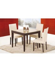 Tavolo in legno e piano in vetro art. 2230 90x90 cm