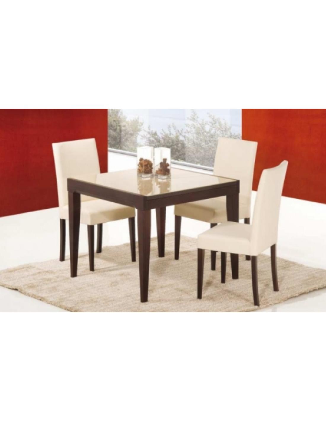 Tavolo in legno e piano in vetro art 2230 90x90 cm for Piano tavolo vetro