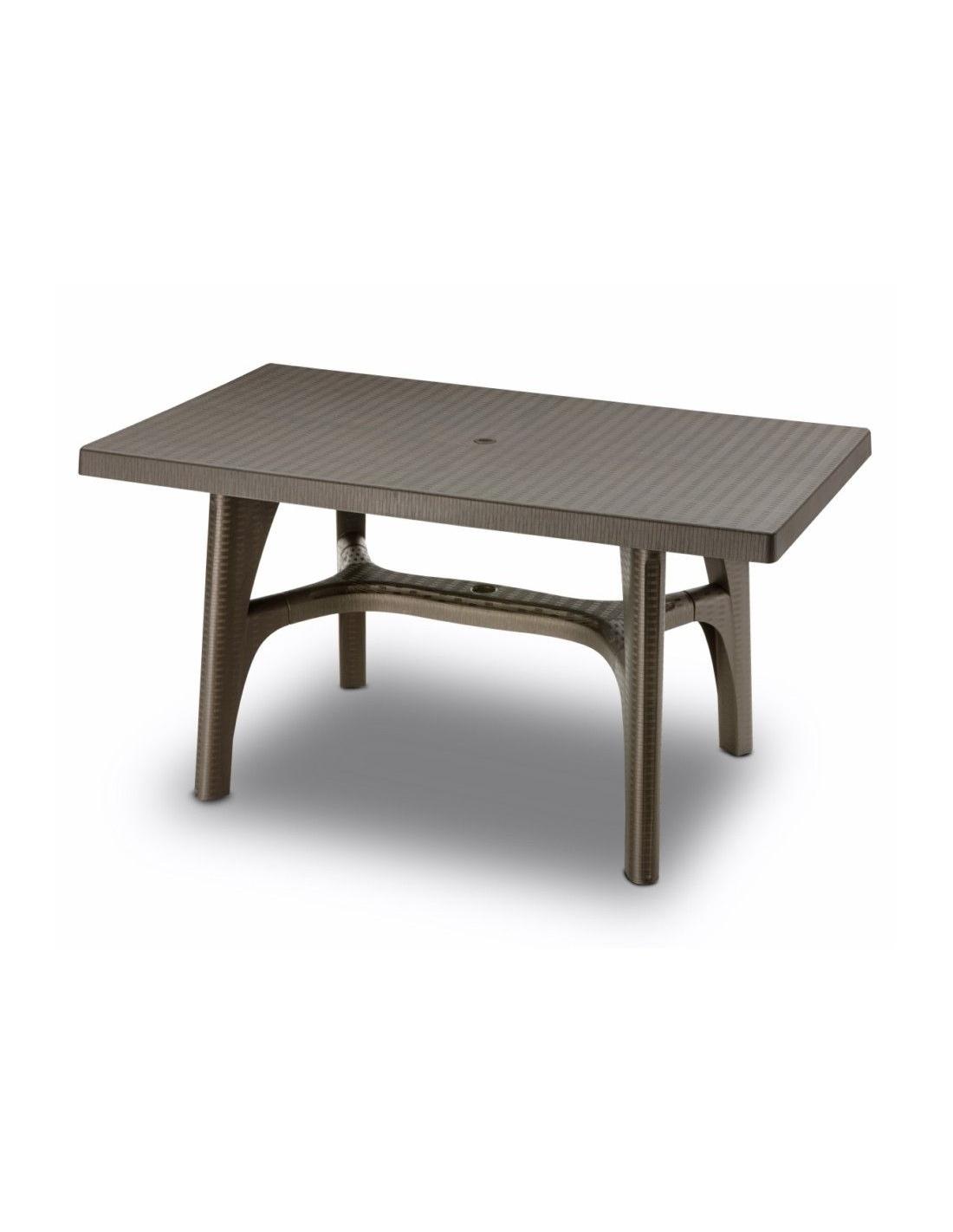tavolo da esterno per giardino intrecciato 140 x 80 cm