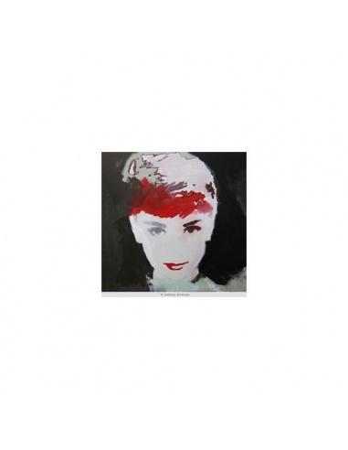"""Stampa su tela """"AUDREY HEPBURN"""" color rosso"""