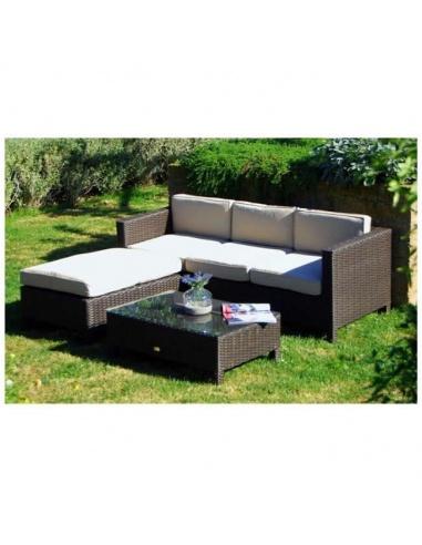 Pouf Poggiapiedi.Set Modello Malaga Lounge Divanetto 3 Posti Tavolino Pouf Poggiapiedi