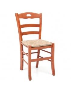 Sedia in legno modello Loris Paglia colori ciliegio o noce