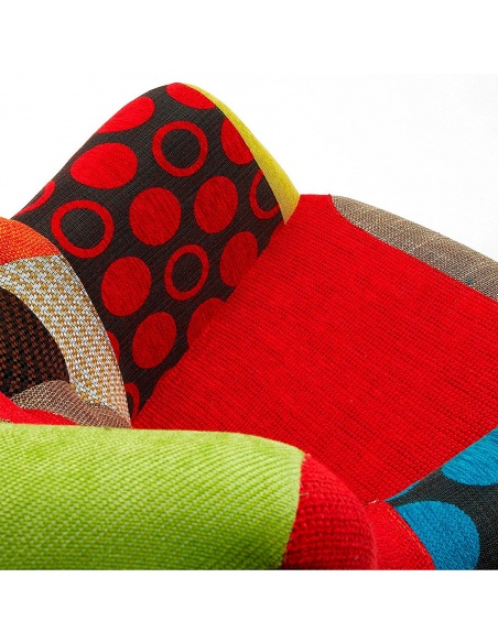 Poltrona Patchwork multi-colorata con piedi rivestiti