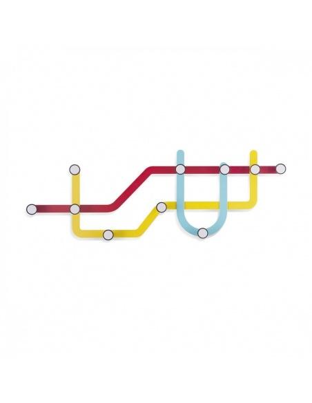 Appendiabiti da parete Subway disegno metro colorato - 10 appendini