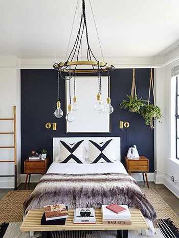 Camera da letto blu e bianca - idee e spunti di design